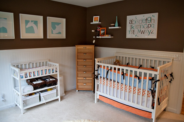 Aqua brown orange boy 39 s nursery design flickr photo - Its a boy here are some room ideas for a newborn ...