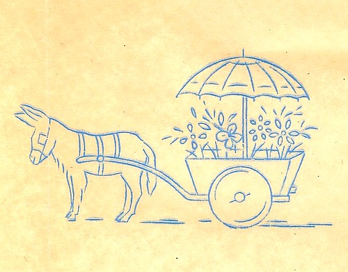 Donkey with Flower Cart