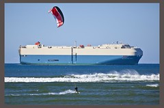 Cargo Ship passing Caloundra Shoreline-2=