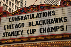The Chicago Theater Marquee Honors the Chicago Blackhawks
