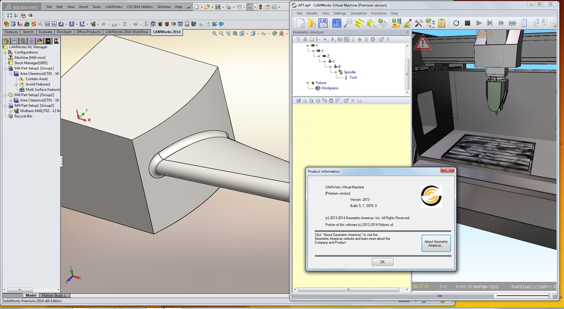 Machining with CAMWorks Virtual Machine 2014 full license