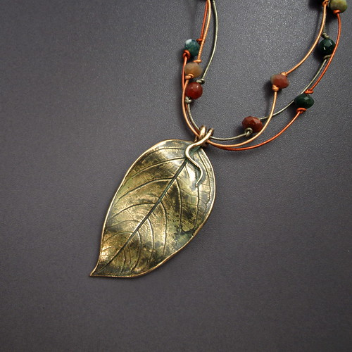 Bronze Leaf on Leather Necklace