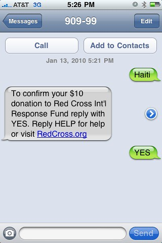 Haiti SMS American Red Cross Relief
