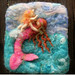 Needlefelted wool painting Riding the Waves wm1