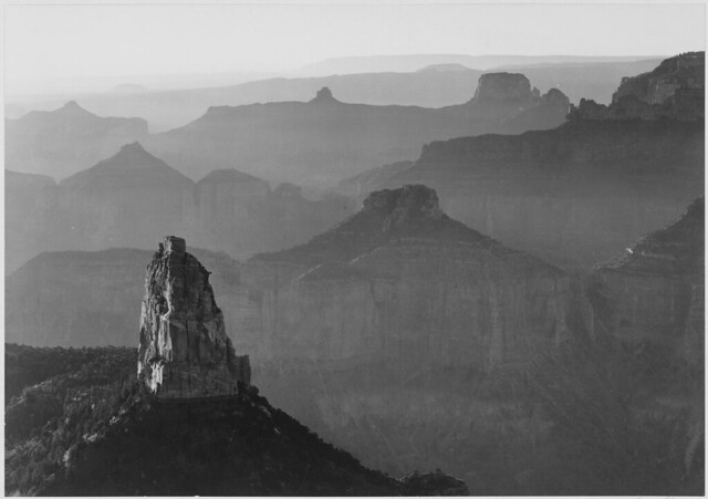 """View with rock formation in foreground, """"Grand Canyon National Park,"""" Arizona."""