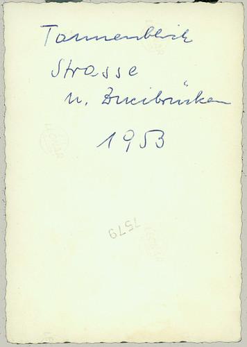 reverse of Tannenblick Strasse u.(nd) Zweibrücken 1953