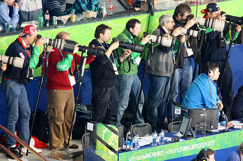 """Focused on the Game"" Pro Photographers at the 2010 Olympic Games Mens Ice Hockey Russia Vs Slovakia Vancouver BC 18Feb2010"