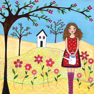 Flower Garden Collage Painting Art by Sascalia