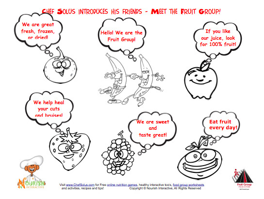 Page 2 of Cute Fruits - healthy food messages and nutrition food group facts
