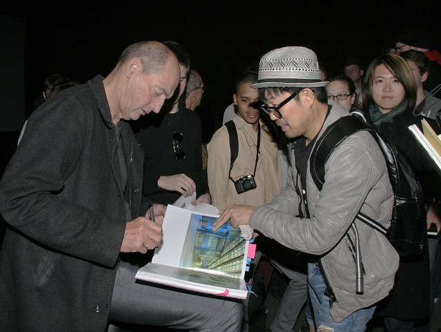 Signing autographs after the lecture