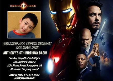 Flickriver designdreametsys photos tagged with superhero iron man movie custom birthday invitation filmwisefo