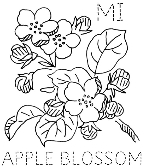 garden state parkway sign coloring pages | Michigan Apple Blossom | To download the 6-inch block size ...