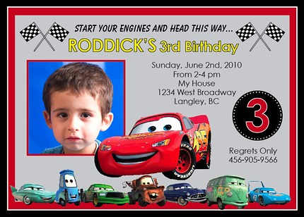 Disney Cars Lightning McQueen Matter Custom Birthday Invitation