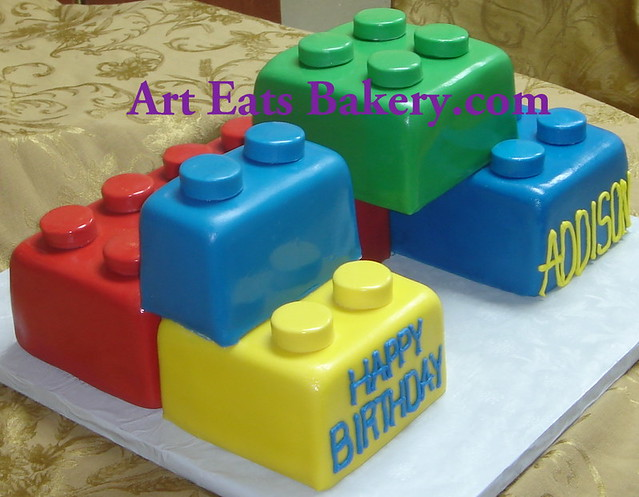 Lego Blocks Cake Design : Giant blue, green, yellow and red fondant 3D Legos blocks ...