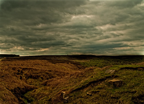 "England, Yorkshire, moor from the book ""Wuthering Heights (1847)"" by Emily  Brontë"