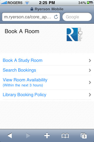 Ryerson Room Booking Student Learning Center