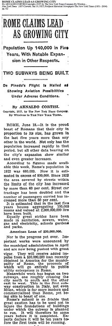 Rome - Imperial Fora: Metro 'C' Archaeological Surveys (2005-2010). 'Rome - New Subways & Population Growth,' The New York Times (June 19, 1927), pg. E2.