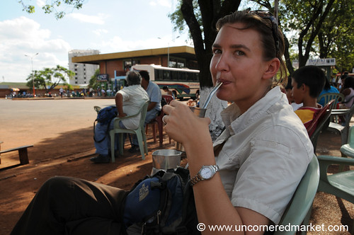 Drinking Terere to Cool Off - Encarnacion, Paraguay