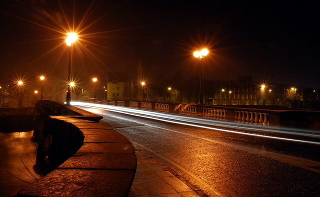 Salmon Weir Bridge on a cold foggy night...