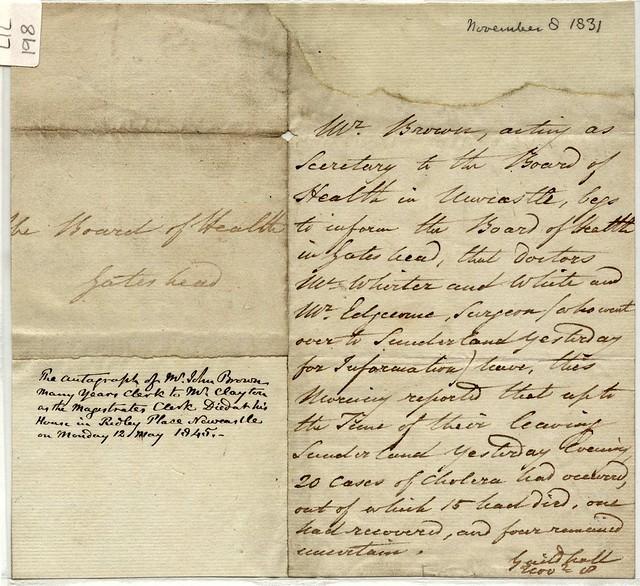 Sunderland Cholera Epidemic, 1831-2