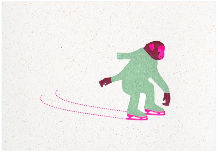skating chimp gocco print