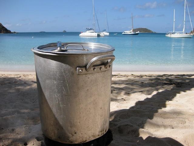 Fish stew dennis set up a fabulous beach bbq featuring a for Keller fish farms