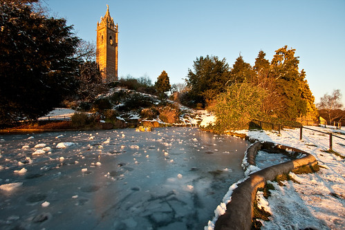 lake snow canon bristol landscape frozen pond clifton cabottower brandonhill eos400d brritscold mathewroberts
