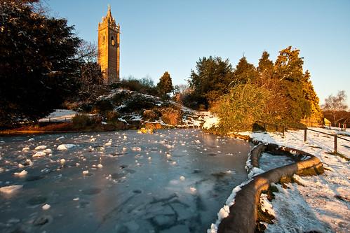 lake snow canon bristol landscape frozen pond clifton cabottower brandonhill eos400d brritscold mathewroberts