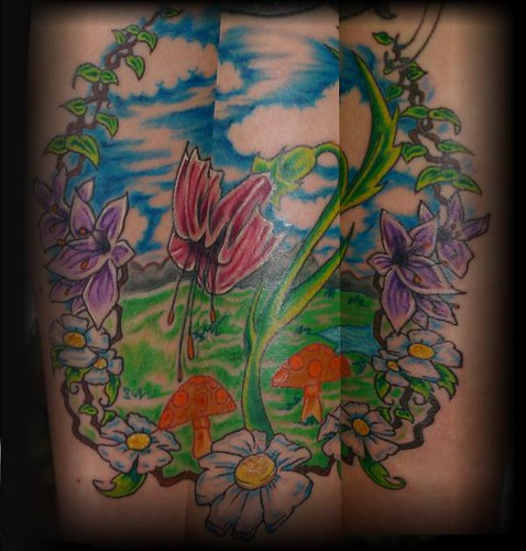 Flower mural flickr photo sharing for Arm mural tattoos