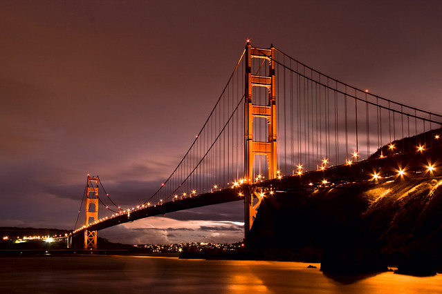 Golden gate bridge at night flickr photo sharing for Golden night