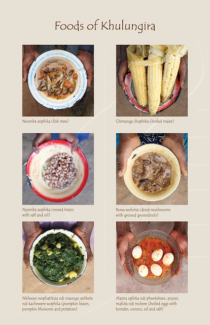 Foods of Khulungira: Fish stew, boiled maize, mixed beans, dried mushrooms, pumpkin leaves and egg stew