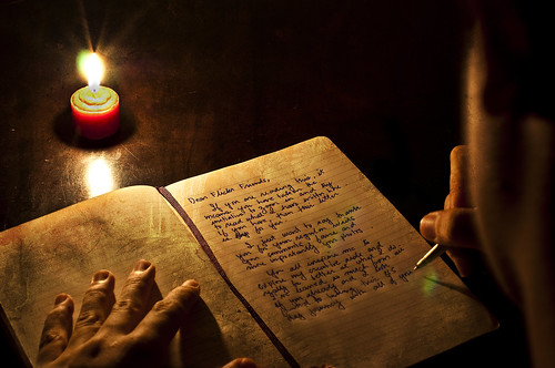 longexposure brown texture moleskine handwriting creativity golden hands glow candle expression depthoffield explore lensflare writer candlelight write frontpage parker journalism cursive nikkor50mmf14d signpen project365 redcandle nikond90 oldworldfeel lettertoflickrfriends michaeljosh boybehindthelens morethanjusthandwriting readtheletter
