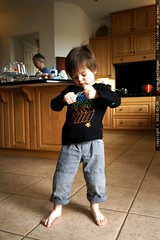 blowing bubbles in the kitchen