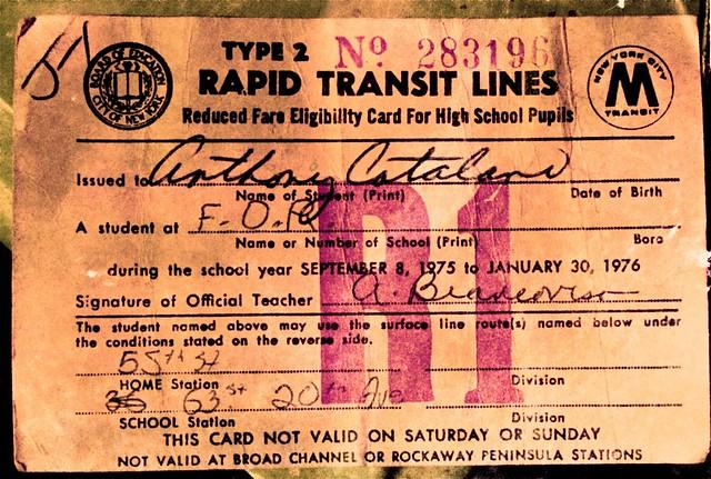 FDR HS Train Pass 1975 - 1976