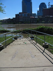 Cumberland River out of it's banks near Downtown Nashville Tennessee.