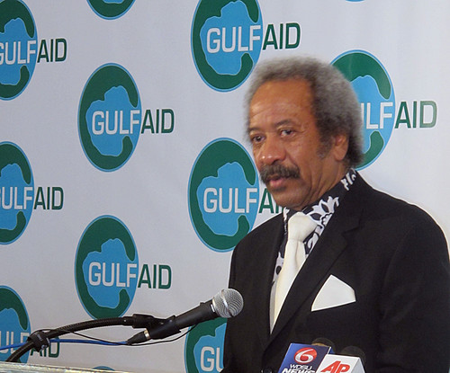 Allen Toussaint gets interviewed at a Gulf Aid press conference