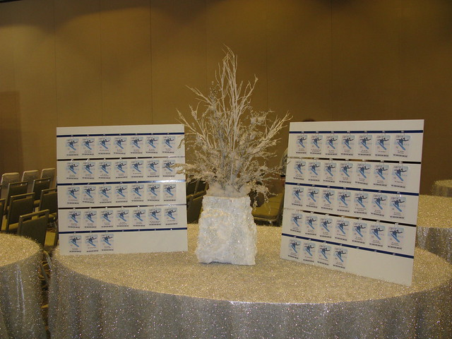 Custom snow themed centerpiece for the place card table at a Snow boarding themed Bar Mitzvah at the Westin in Waltham