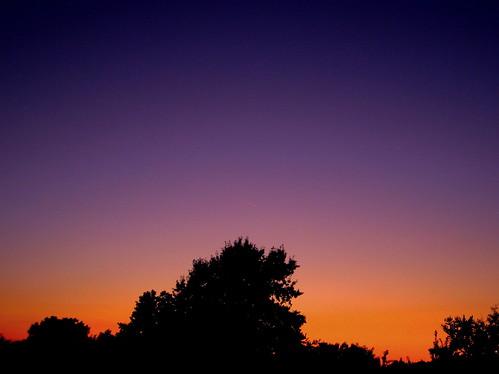 blue trees sunset summer sky orange silhouette illinois twilight midwest august glencarbon