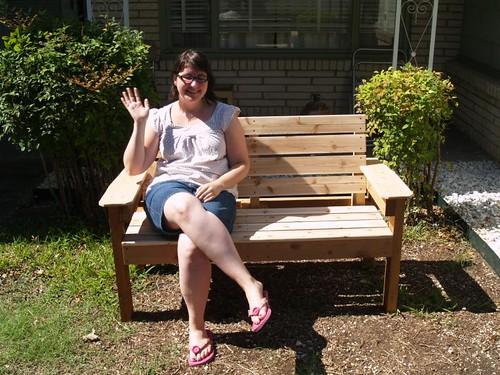Linda on the cedar garden bench