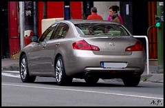 bmw(0.0), sports car(0.0), automobile(1.0), automotive exterior(1.0), executive car(1.0), family car(1.0), wheel(1.0), vehicle(1.0), automotive design(1.0), mid-size car(1.0), infiniti g(1.0), compact car(1.0), bumper(1.0), sedan(1.0), personal luxury car(1.0), land vehicle(1.0), luxury vehicle(1.0),