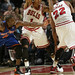 Derrick Rose guarded by Raymond Felton