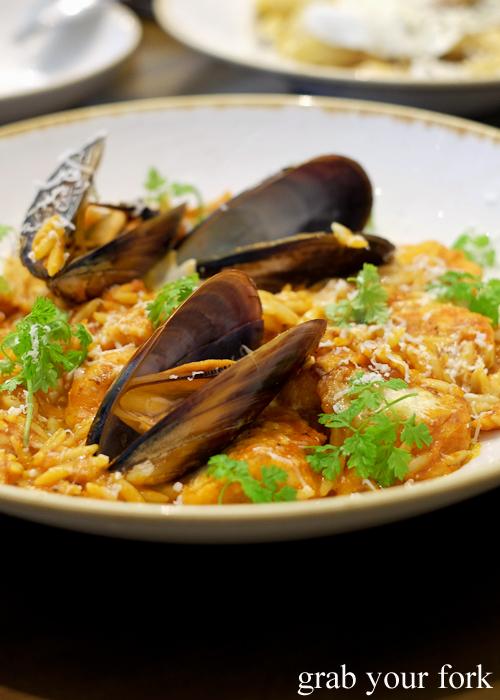 Seafood saganaki at 1821 Greek restaurant in Sydney
