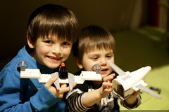 brothers with their lego creations