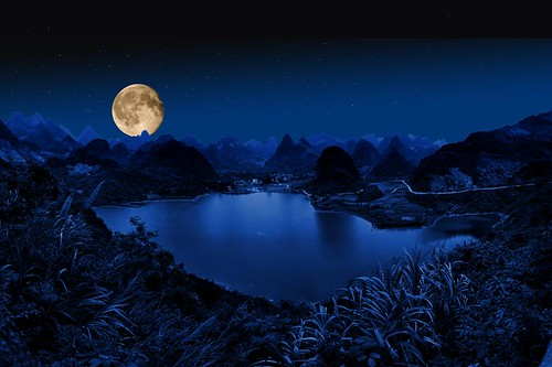 Full moon near Yangshuo, China