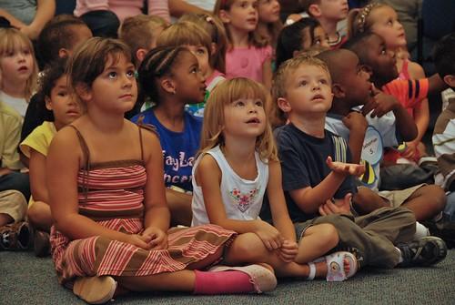 Children watching Cirque Du Soleil at the Library