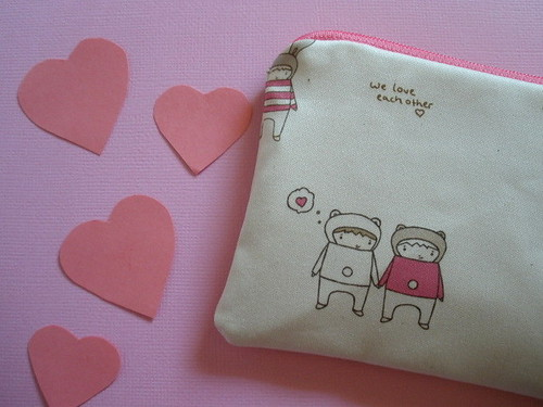 Best Friends Forever Coinpurse - Pink - in Organic Cotton