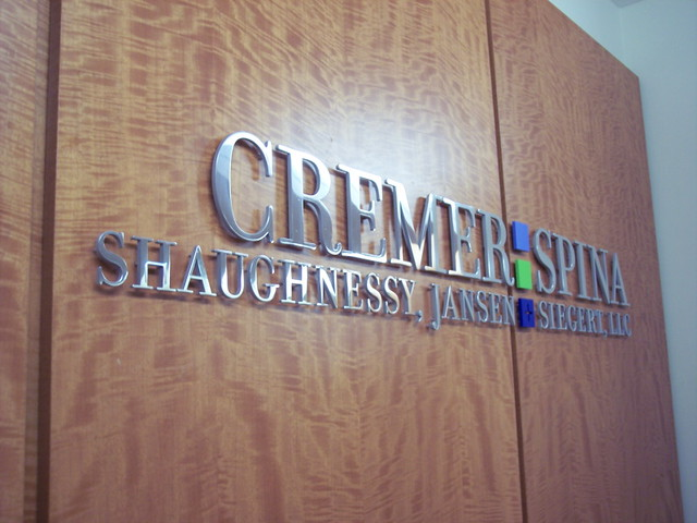 High End Law Office Sign. Cremer Spina Law   Cut Metal Letters. 3 Photos  Polished Finish Aluminum Letters For Law Office
