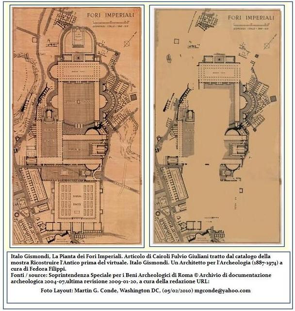 ROME - THE IMPERIAL FORA: FORUM OF CAESAR - Arch. Italo Gismondi, La Pianta dei Fori Imperiali.  Scavo - Stato Attuale dell' Area Fori, 1941 / 2002-04.