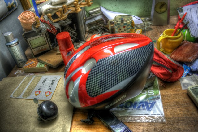 A bicycle helmet and other junk