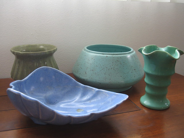 More pottery to be used for wedding centerpieces The blue leaf shaped dish